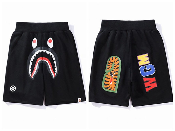 best selling Famous Brand Ape Beach shorts Printed Shark head WGM Off Men Women Leisure pants White for Summer free shipping fear god hip hop A+++
