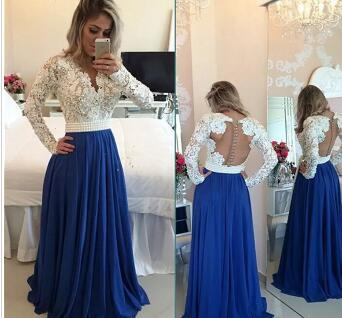 Glamorous Long Sleeve Chiffon Prom Dress With Pearls And Lace Appliques White and Blue Evening Dress formal women dress