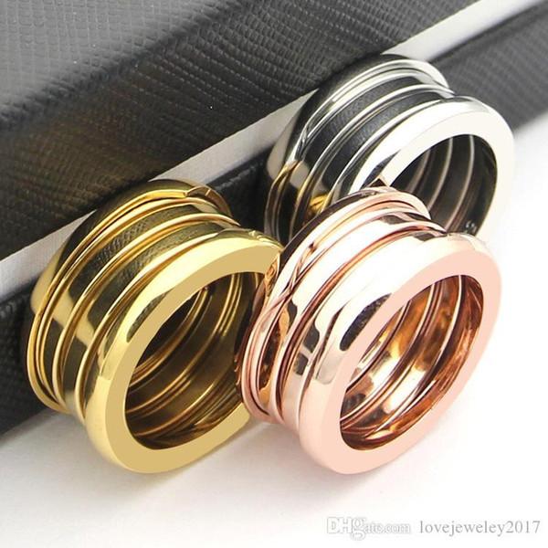 Anneau de ressort en or rose Anneaux Titane en acier inoxydable Argent 18K Or tricyclique BV couple bande anneaux célèbre marque bijoux