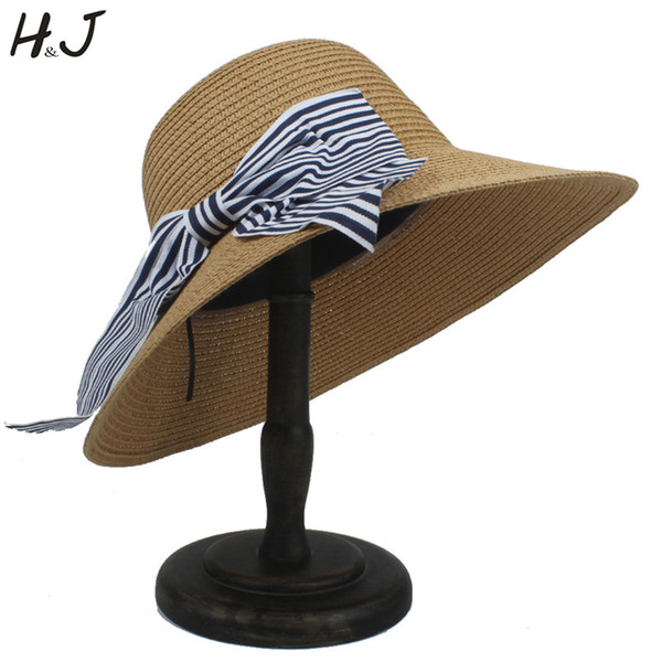 Women Straw Beach Bucket Hat For Lady Summer Autumn Wide Brim Sun Sunbonnet Caps With Big Bowknot Size 56-58CM