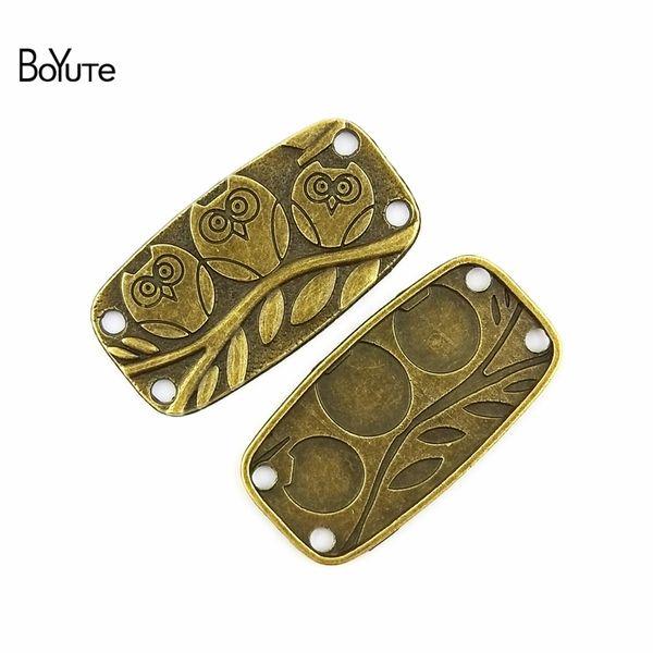 BoYuTe (40 Pieces/Lot) 38*20MM Charms Owl Connector Antique Bronze Zinc Alloy fit Bracelet Necklace Diy Metal Jewelry Findings & Components