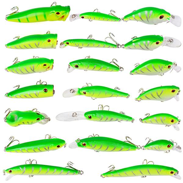 Hot 20Pcs/Lot Fishing Lure Mixed 2Models Or 20Color Minnow Lure Fishing Tackle Crank Lures Mix Fish Fishing Bait Dws 237