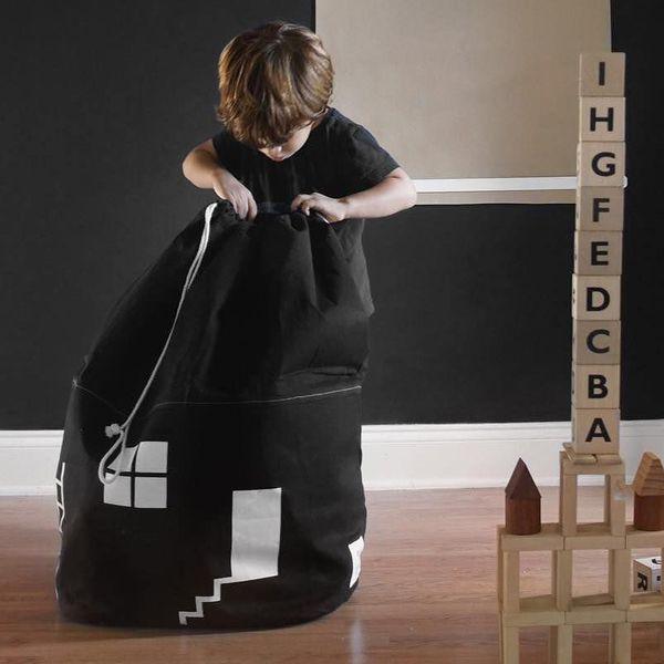 Large Capacity Cute House Storage Kids Child Toys Storage Bag Foldable Drawstring Beam Port Canvas Pouch Organizer Sitting Bag