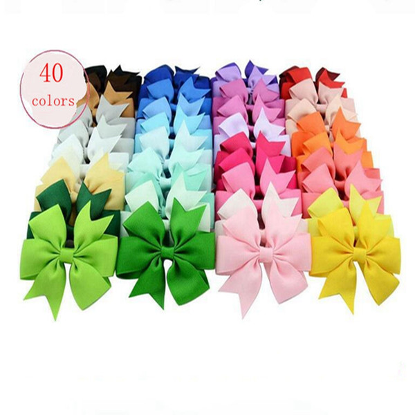 Baby Infant Ribbon Bow Headbands Girls Solid Color Bows Clip Infant Big Bowknot Elastic Hair Accessories Kids boutique Hairbands YL75