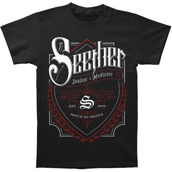 Seether Etiqueta de Cerveja dos homens T-shirt Preto Mans Único Algodão de Mangas Curtas O Pescoço T Shirt 2018 Camisetas de Verão para Homens