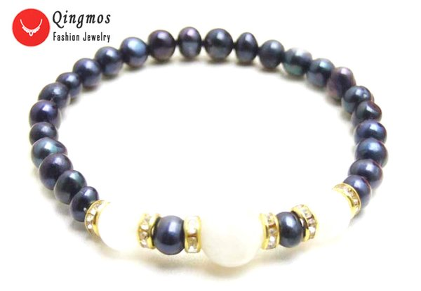 Qingmos Fashion Bracelet for Women with 6mm Black Pearl Bracelet and White 10mm Moonstone Stone 7.5'' Jewelry 417