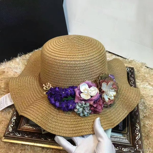 HOT luxury Hat Women Summer Foldable Wide Straw Cap For Women Beach Resort Headwear Brim Caps Top Quality New Fashion brand Hats