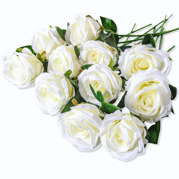 Artificial Silk Rose Flower Bouquet Vintage Wedding Party Home Decor,Park of 10 (white)