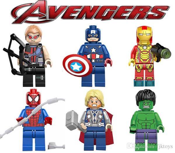 Super hero Mini Figures Blocks Marvel Avengers DC Justice League Captian Spiderman Ironman Black Panther building blocks kids gifts