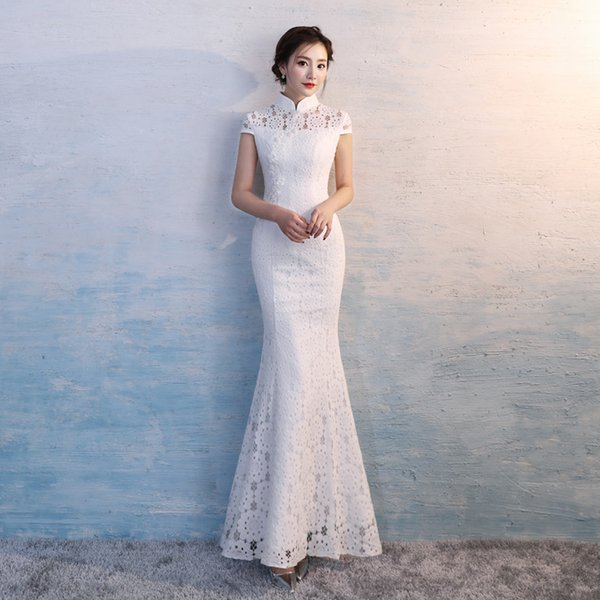 HYG620 Cheongsam Chinese Style Traditional Embroidery Women Long Lace White Wedding Qipao High Quality Mermaid Party Dress Evening Dress