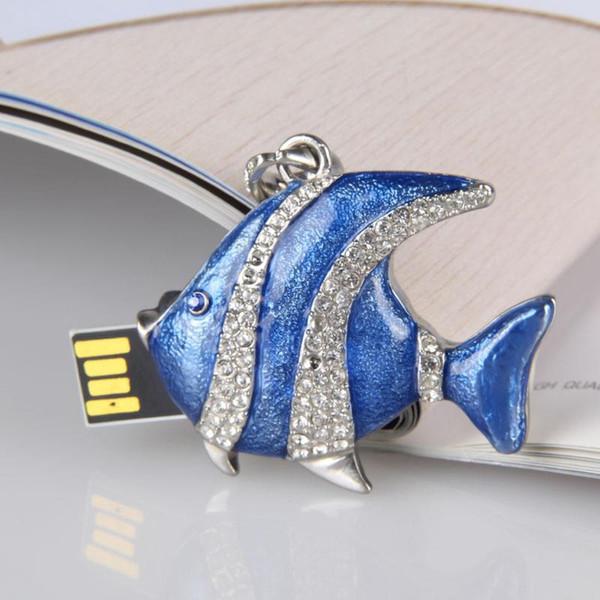 Cool USB flash drive 4GB-32GB Elegant crystal fish necklace - USB Flash 2.0 Memory Drive Stick pendrive 2018 new arrival