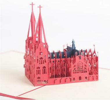 Creative 3D 3D Building Cards Custom Cologne Church Paper Carving Tarjetas de visita