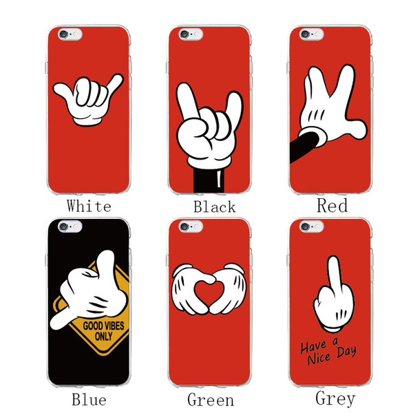 Cute Cartoon Mouse Hand Gesture Pattern Soft Clear Phone Case Coque Fundas For iPhone5 6 6Plus 7 7Plus 8 8Plus X SAMSUNG