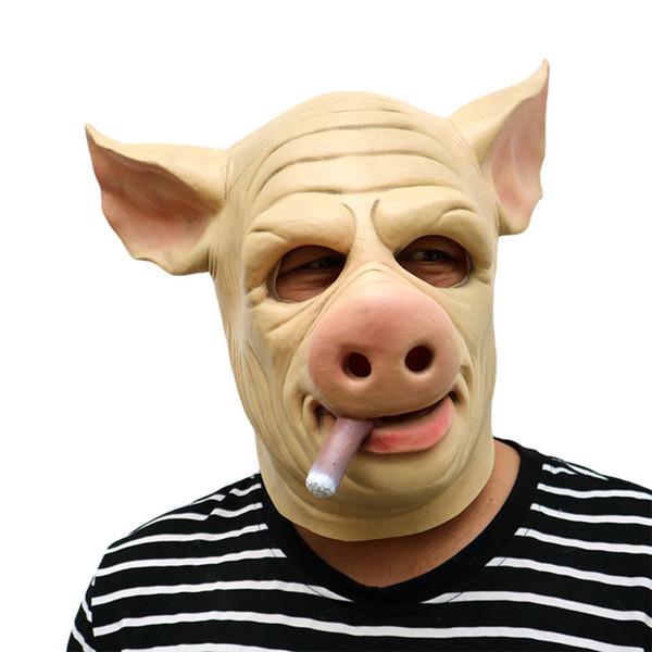 Halloween Pig Head Latex Mask Movie Funny Cosplay Boss Mask Party Cigar Battle Royale Skin Joke Full Face Masquerade Props