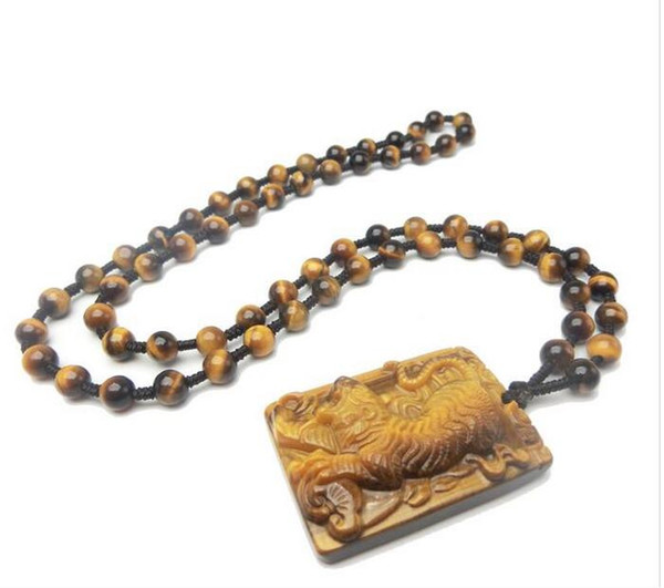 Wholesale - Natural Tiger Eye Pendant Men&039;s Animal Zodiac Tiger Jade Gold Tiger Necklace Pendant