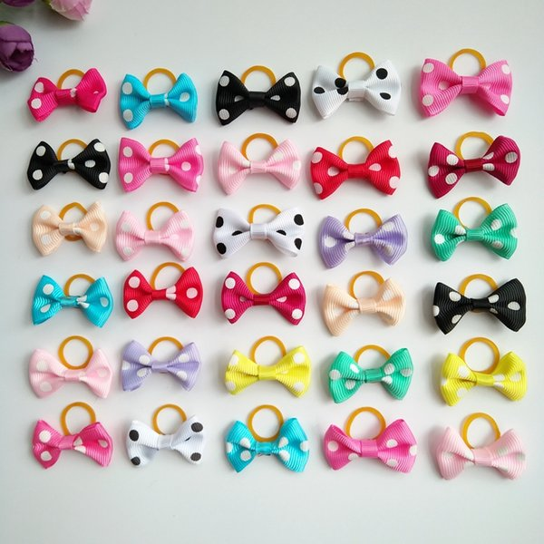 100pcs/lot Small Dog Hair Bows Topknot Dots Bowknot with Rubber Bands Pet Grooming Products Mix Colors Pet Hair Bows Dog Hair Accessories
