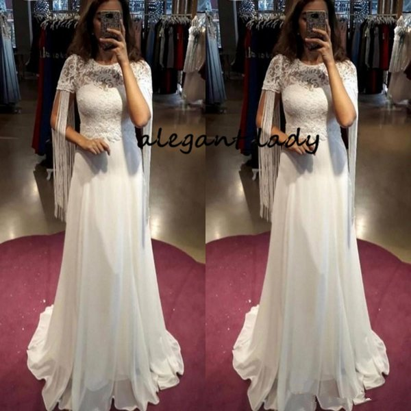 Simple Country Style Wedding Dresses With Tassel A Line Short Sleeves Vintage Wedding Gowns Chiffon Back Zipper Cheap Beach Bridal Dress