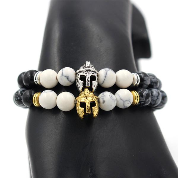 Chevalier de la mode casque charme de tête élastique naturel 8mm blanc Howlite flocon de neige Pierre perle Bracelet bijoux pour hommes femmes cadeau