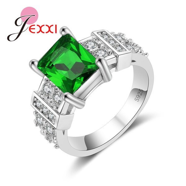 YAAMELI Hot Square Green Austrian Crystal Rings Fashion Women 925 Sterling Sier Cubic Zircon Engagement Ring Bands Jewelry