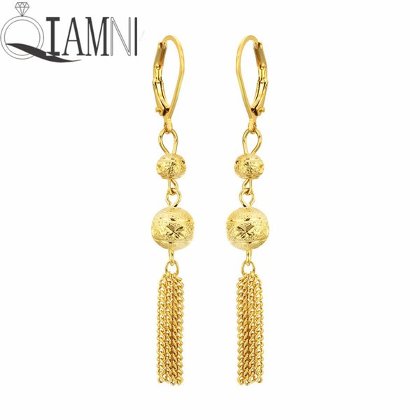 QIAMNI Gold Ball Tassel Chain Piercing Long Dangle Drop Earring Party Birthday Jewelry Women's Wedding Gift Brincos Pendientes