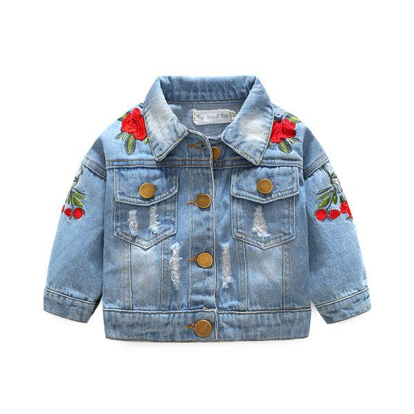 Baby Girls Denim Coats Vintage Jeans Jackets for Girl Toddler Denim Jackets Infant Jean Rose Flower Embroidery girl sweaters