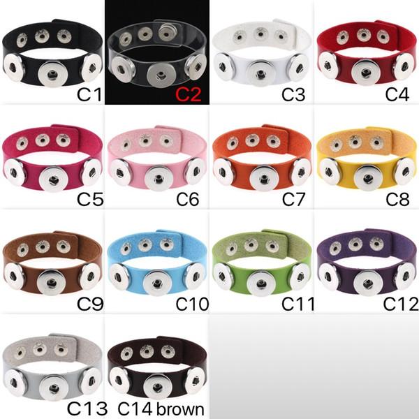 Moda NOOSA Rvica Chunk pulseras pulsera de moda botón a presión 14 colores PU pulsera de cuero joyería de DIY al por mayor