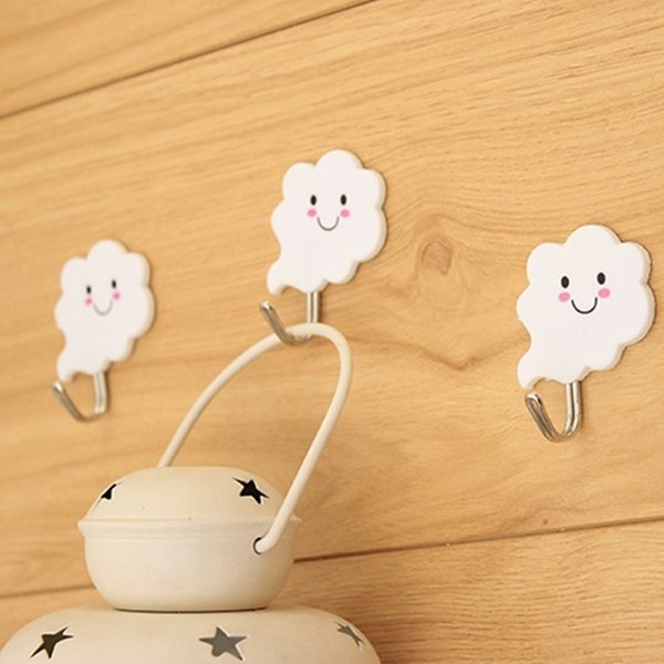 6pcs Self adhesive cloud shape wall hook all-Mounted Suction Cup hooks for hanging Key holder Clothes Organizer home decor