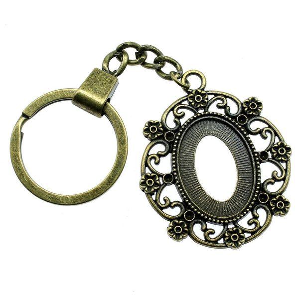 6 Pieces Key Chain Women Key Rings Couple Keychain For Keys Flower Heart Inner Size 18x25mm Oval Cabochon Cameo Base Tray Bezel Blank