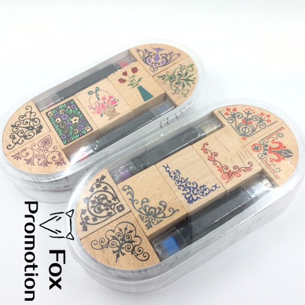 7pc/SET with 2 ink pen Assorted Vintage Floral Flower Pattern Wooden Rubber Stamp Scrapbook DIY Floral Lace Decoration Stamp