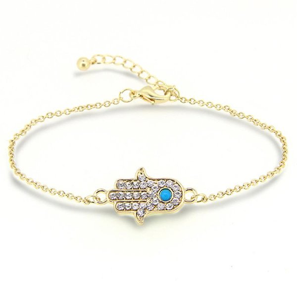 Wholesale-New Fashion Zircon Lucky Hamsa Hand Bracelet Charm Good Natural Turquoise Stone Bracelets & Bangle for Women Men Friendship