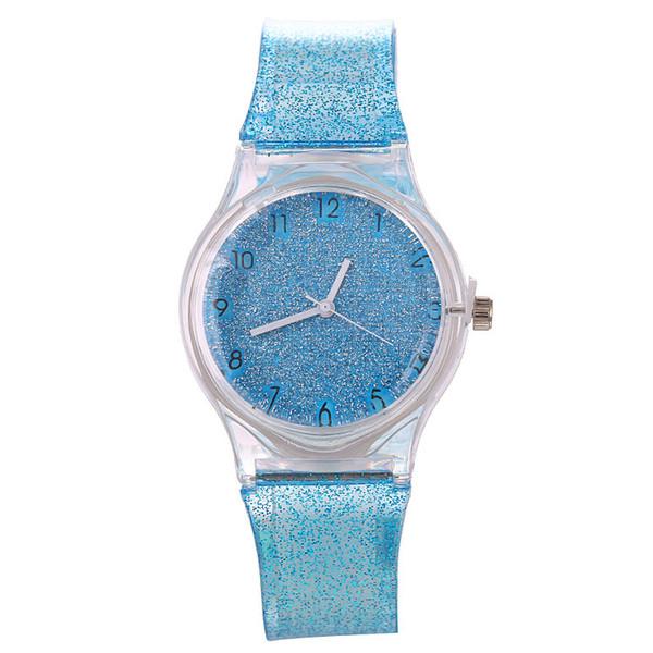 Fashion 2018 kids children soft rubber plastic shiny watches wholesale new girls ladies women dress quartz wrist watches