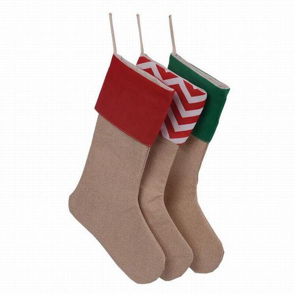 Hot Sale 30*45CM High Quality Canvas Christmas Stocking Gift Bag Canvas Christmas Xmas Stocking Large Size Plain Burlap Decorative socks bag