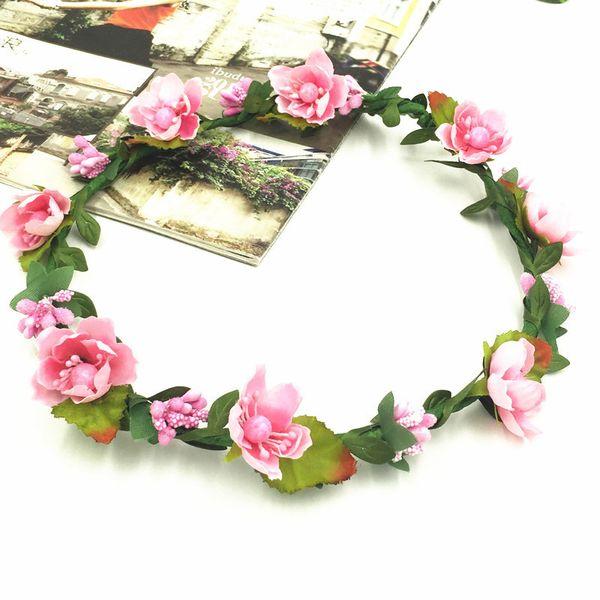 11 estilos bohemio Terylene guirnalda de flores guirnalda corona festival nupcial dama de honor floral diadema tocado accesorios para el cabello