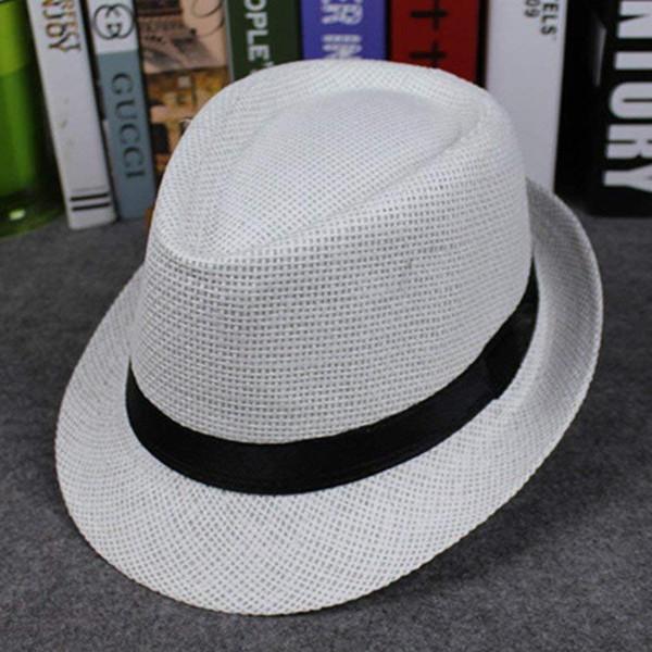 Yeni Kore Tarzı Saman Dokuma Şapka Kenar Severler Kap İngiliz Tarzı Caz Şapka erkek Açık Plaj çocuk Headgear