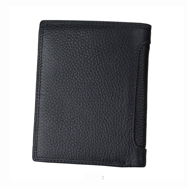 High-quality Male Genuine Leather luxury wallet Casual Short designer Card holder pocket Fashion Purse wallets for men free shipping