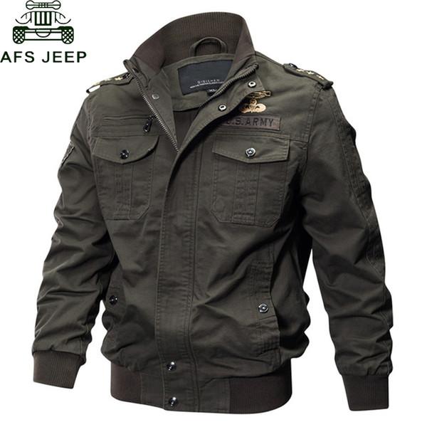 Acheter AFS JEEP Militaire Veste Hommes Grande Taille 6XL Bomber Veste Hommes Automne Hiver Outwear Casual Coton Avion Veste Jaqueta Masculina De