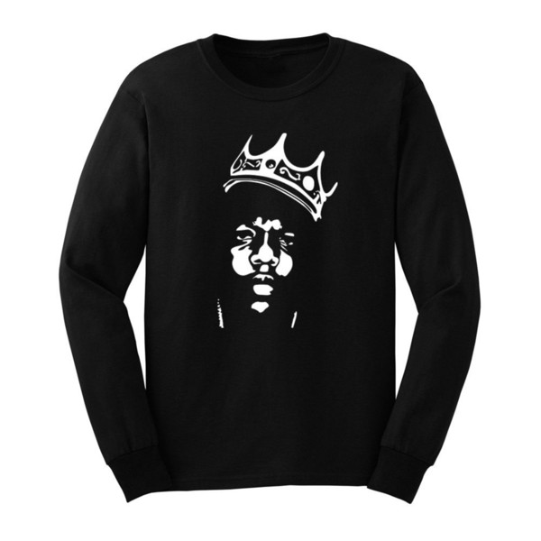 Mens Biggie Smalls Notorious B.I.G. Crown Long Sleeve Adult T-Shirts Men Tee