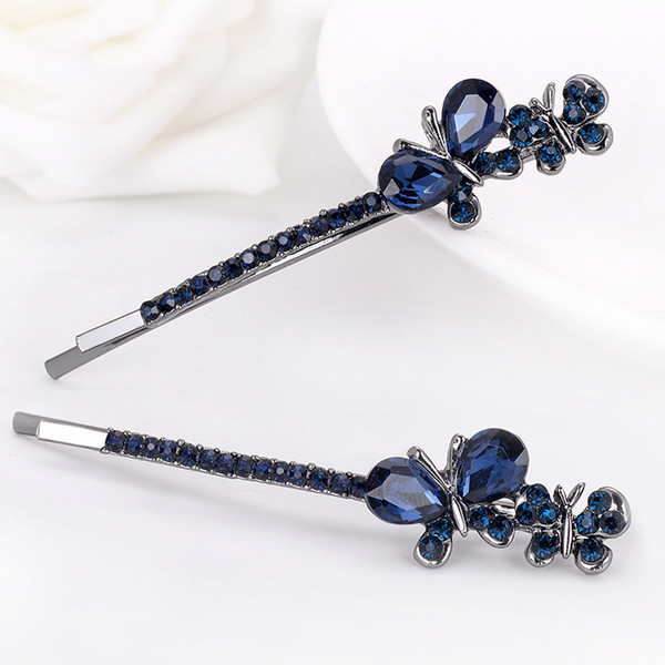 Blue Rhinestone Butterfly Hair Pins Women Simple Side Clip Geometric Alloy Barrettes New Fashion Jewelry Accessories Wholesale Free Shipping