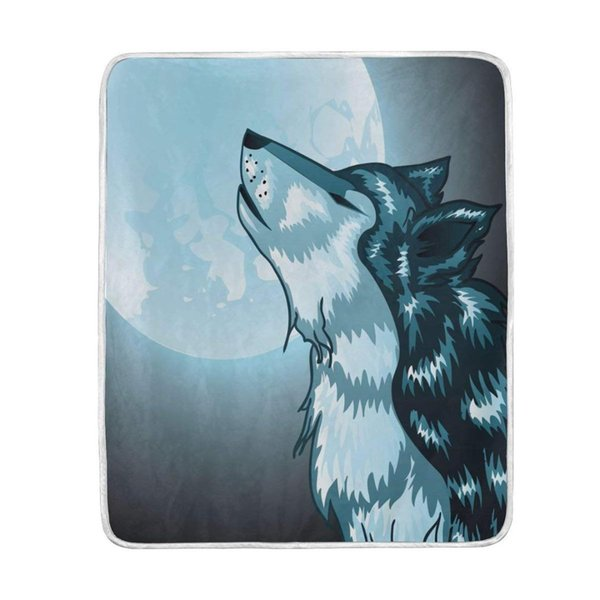 Howling Wolf Full Moon Night Blanket Soft Warm Cosy Bed Couch Ligero poliéster Manta de microfibra