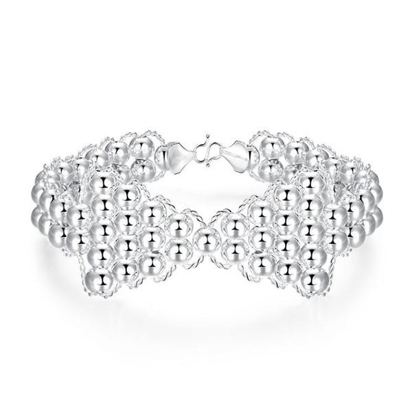 Free shipping !Female style round simple hook Brac 925 silver bracelet JSPB401 ;Hot sale girl women sterling silver plated Wedding Bracelets