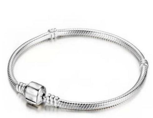 Hot sell Unisex High-quality three-layer thick silver plating Snake chain Collocation Beads Maintain color bracelet