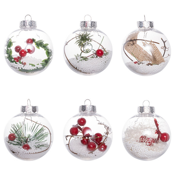 Transparent Ball For Christmas Decorations Romantic Plastic Ball For Christmas Tree Home Decor Clear Bauble Ornament Gift DHL SHIp HH7-1857