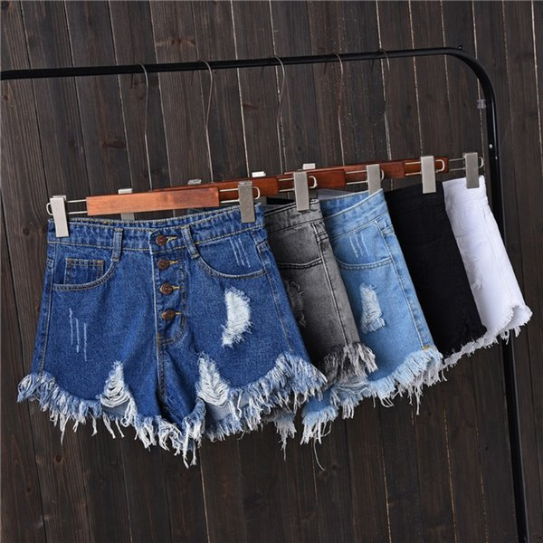 Pantalones cortos de mezclilla de alta cintura estilo borla de verano Pantalones cortos de gran tamaño de las mujeres