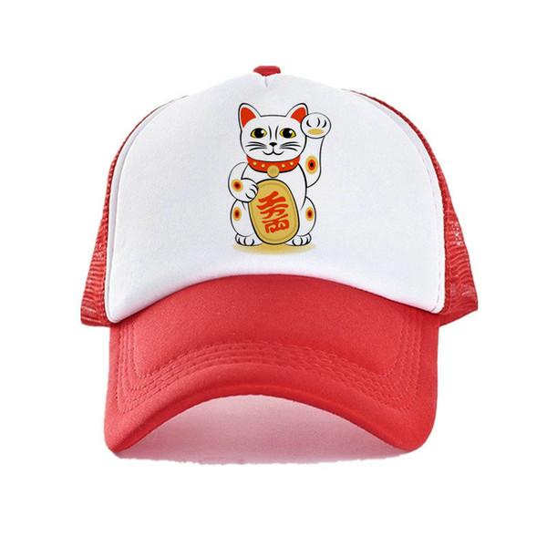 Japonés Maneki Neko Trucker Hat Mujeres Hombres Beckon Acogiendo con beneplácito Fortune Cat Cap Cute Fengshui Lucky Cat Gorras de béisbol Sombreros YF004