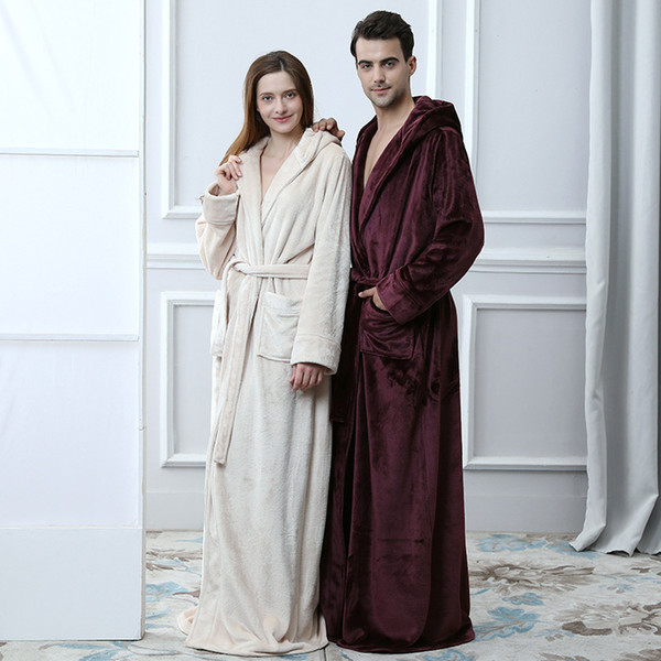 Lovers Flannel Hooded Maxi Long Belt Pocket Bathrobe Men And Women's Thick Warm Kimono Robes Winter Solid Couple Dressing Gown