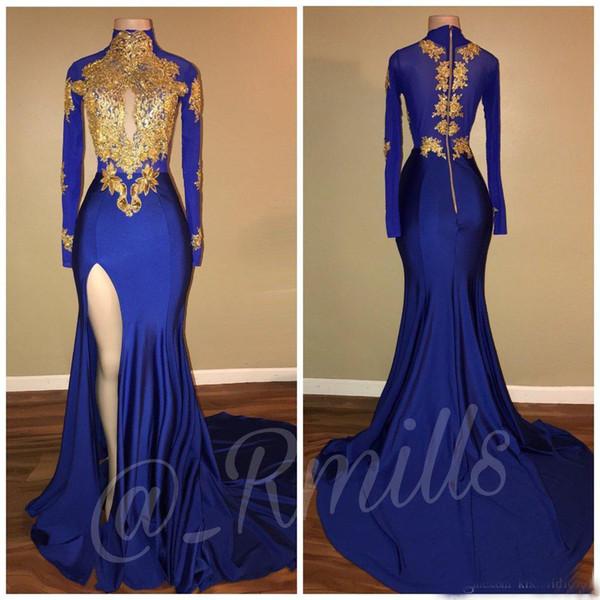 Abiti da sera Royal Blue 2018 Abiti da sera formali africani in pizzo dorato Mermaid Abito da sera a maniche lunghe con collo alto e spacco sul collo
