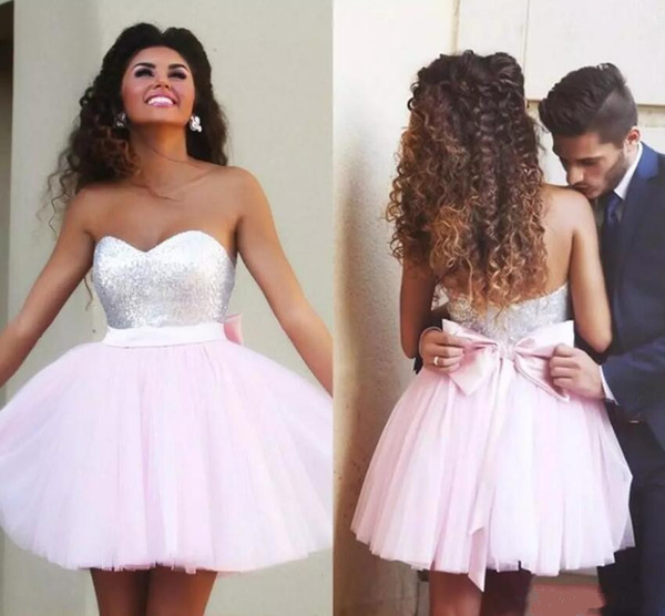 best selling 2018 Short Sweetheart Homecoming Dresses A-Line Tires Tulle Sequins Top 8th Graduation Dresses with Pink Bow Sash Girls Prom Gowns Custom