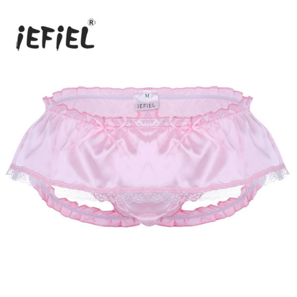 Mens Lingerie Gay Panties Soft Shiny Satin Ruffled 3 Bum Straps Skirted Panties Sissy Open Back Lace Briefs Underwear Underpants