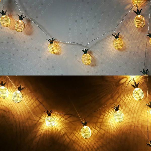 Vintage luces de noche de piña de hierro 20 leds lámpara de cadena 3 m con pilas linterna casa romántica decoración de la boda de navidad