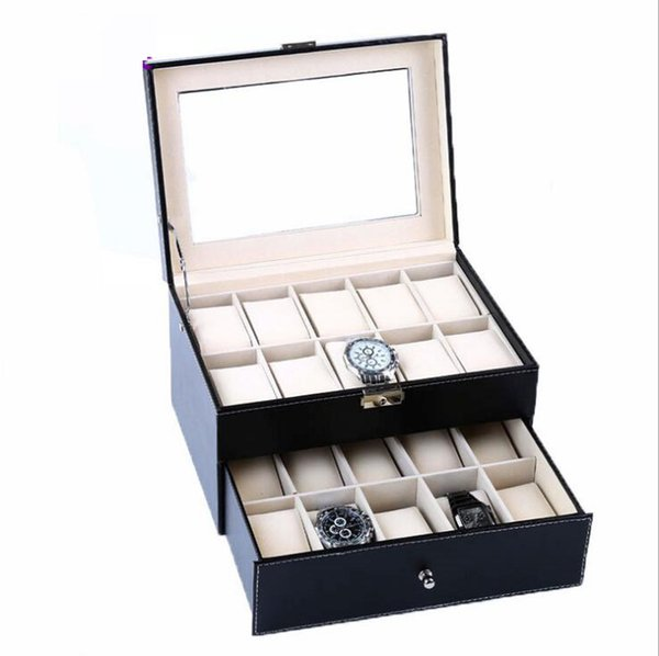 Watches Display Box,Double-layer Faux Leather,20 grid watch display box,for Jewelry and Watch Storage Organizer